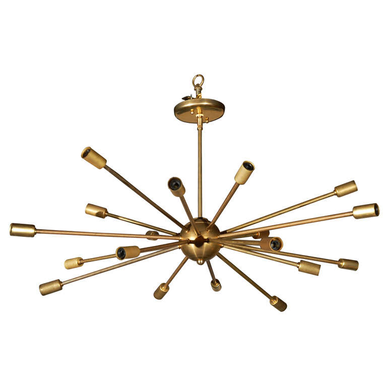Brass sputnik chandelier at 1stdibs for Sputnik chandelier