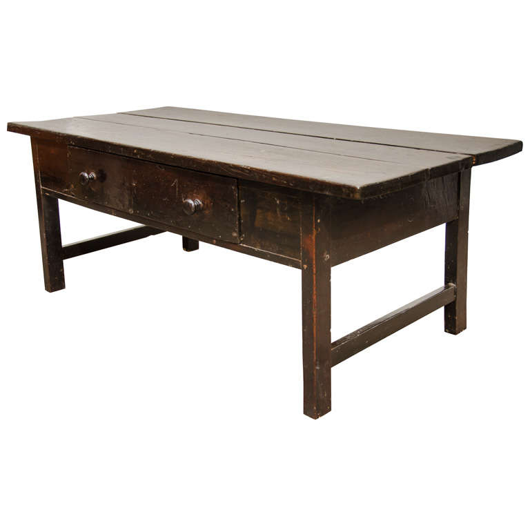 Rustic Wooden Coffee Table With Drawer At 1stdibs
