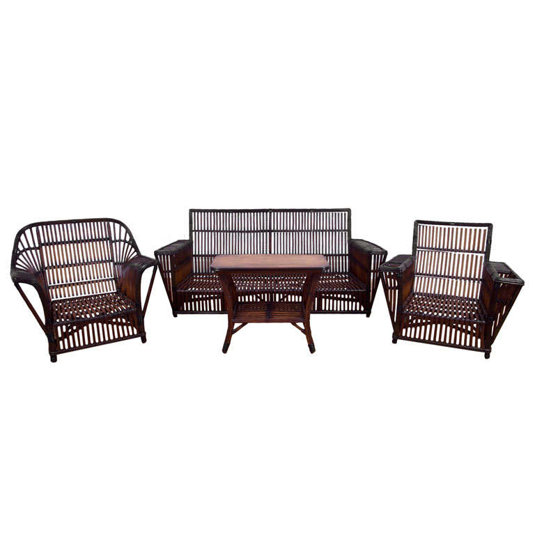 Four Piece Antique Rattan Stick Wicker Set At 1stdibs