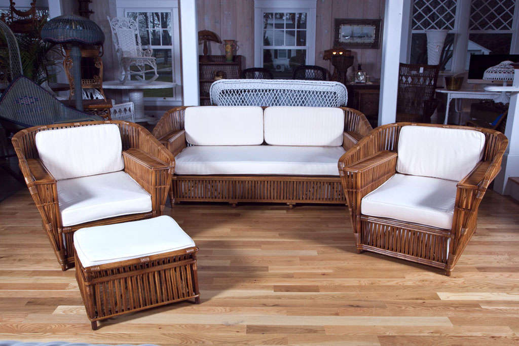 Antique Rattan Wicker Four Piece Set At 1stdibs