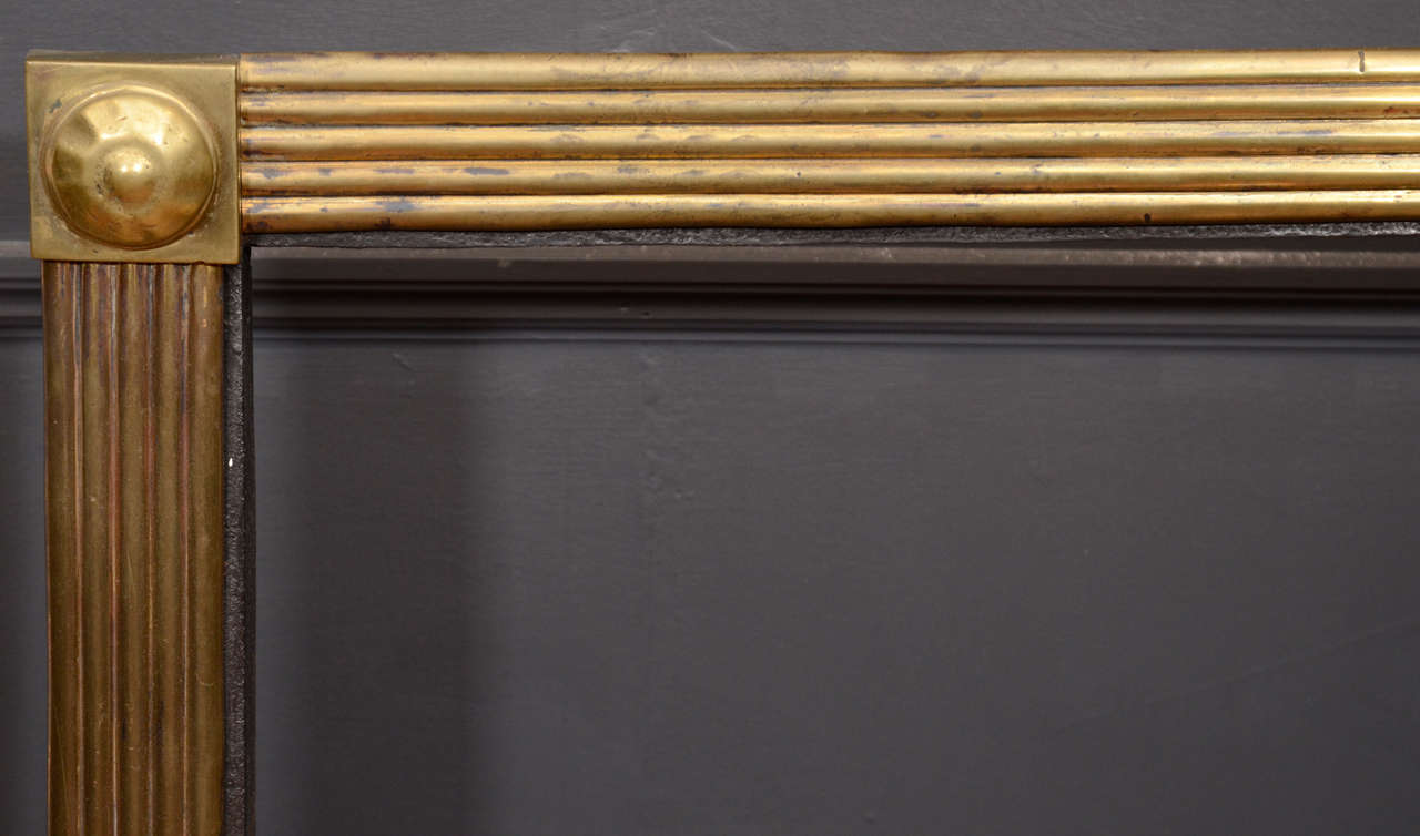 British Mid-19th Century Brass Reeded Fire Grate For Sale