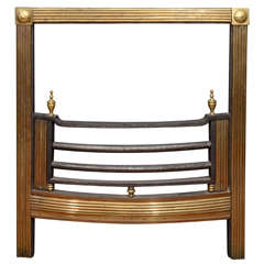 Mid-19th Century Brass Reeded Fire Grate