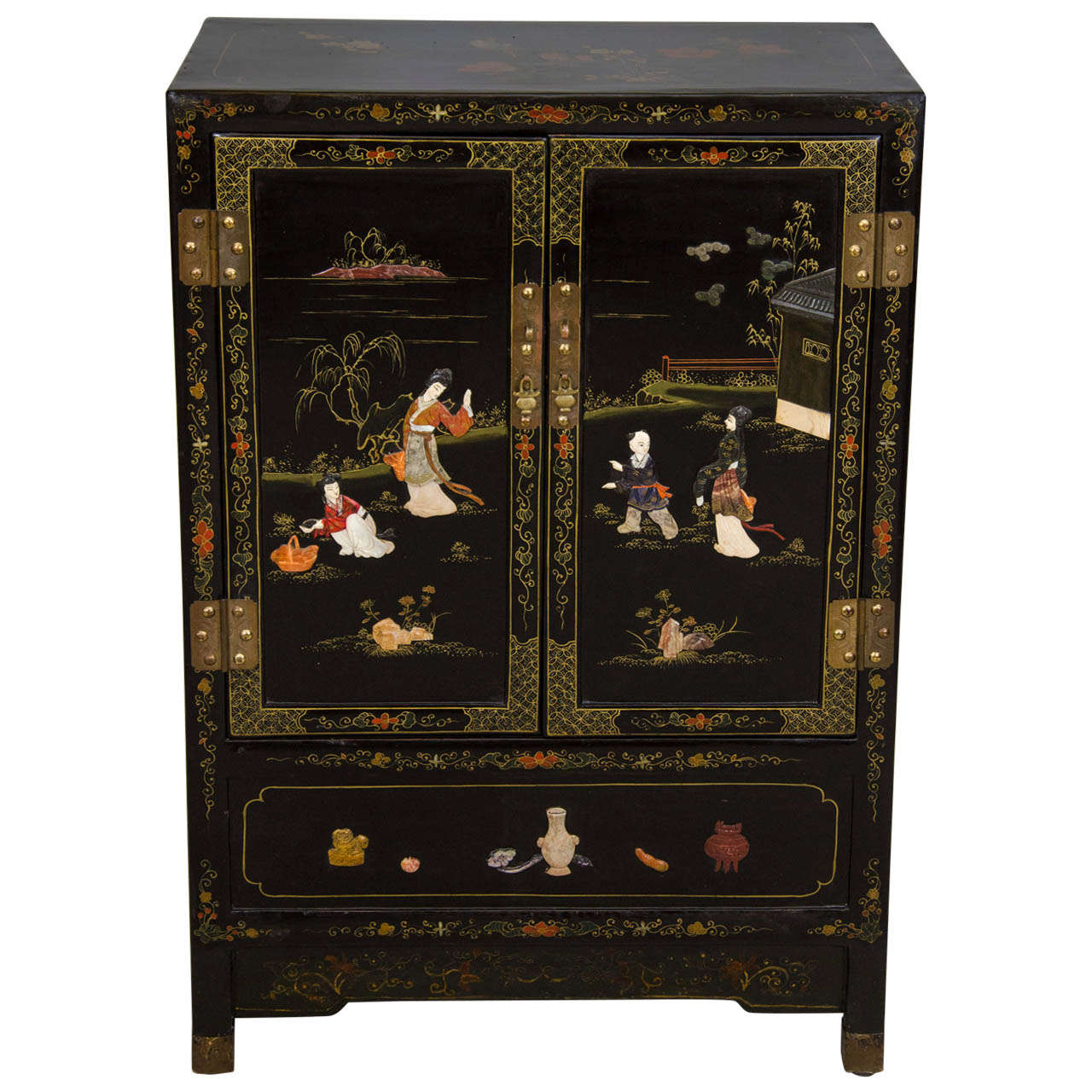 Japanese Black Lacquer Side Cabinet At 1stdibs