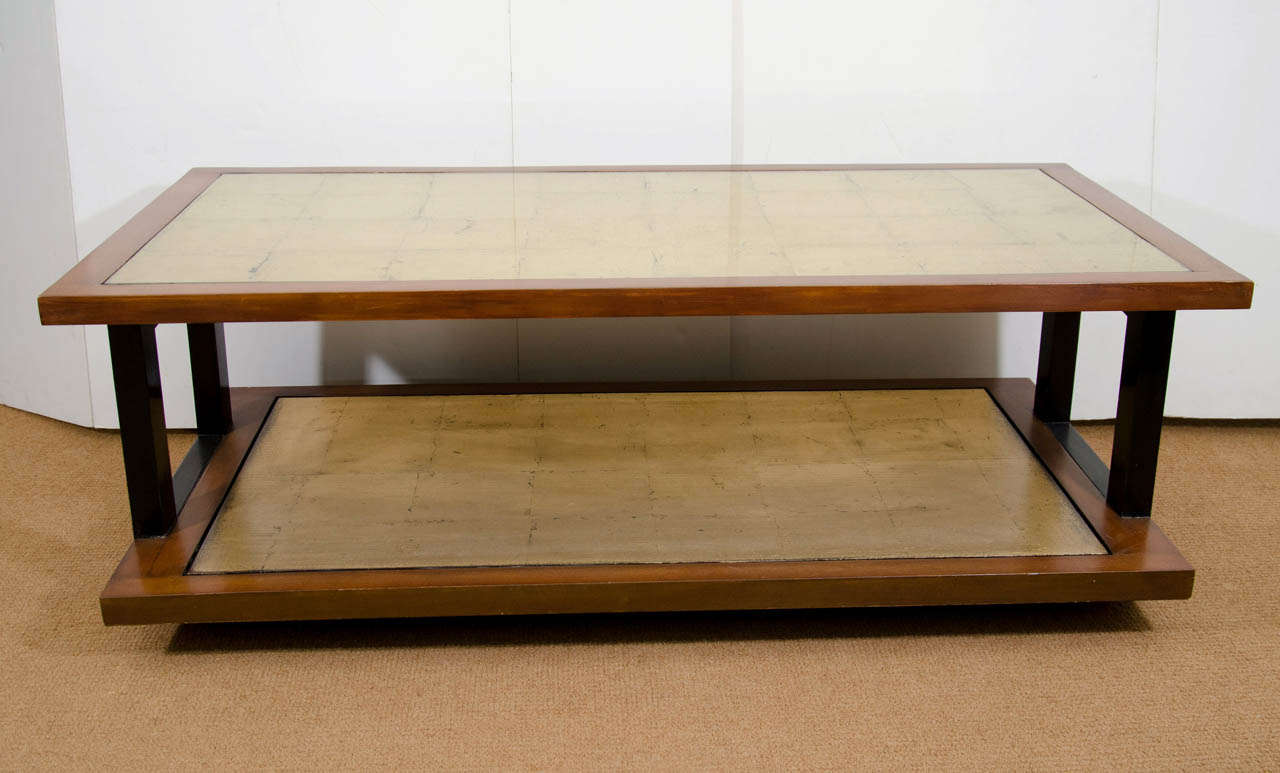 Two Tier Mont Style Coffee Table With Gold Leaf At 1stdibs