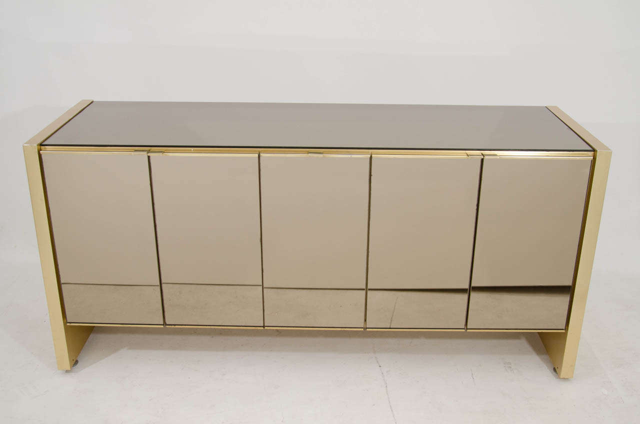 Genial Ello Credenza In Brass And Bronze Tinted Mirror