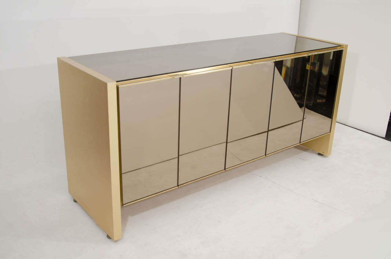 ... Ello Credenza In Brass And Bronze Tinted Mirror Good Condition For New  ...