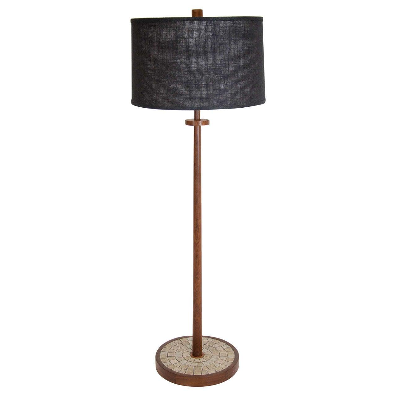Martz walnut floor lamp with tile base for sale at 1stdibs martz walnut floor lamp with tile base for sale aloadofball Images