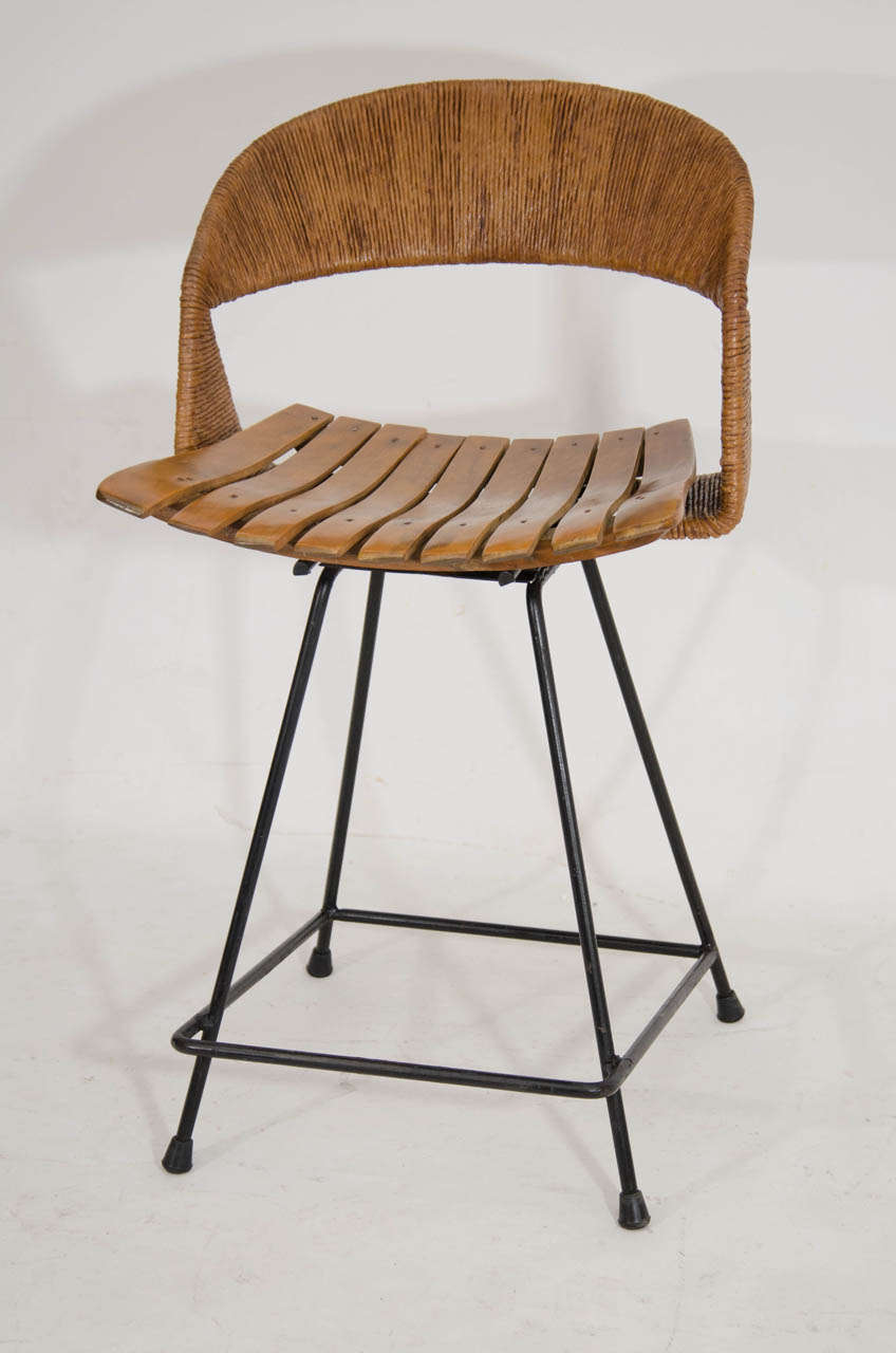 set of three counter height bar stools by arthur umanoff at 1stdibs. Black Bedroom Furniture Sets. Home Design Ideas