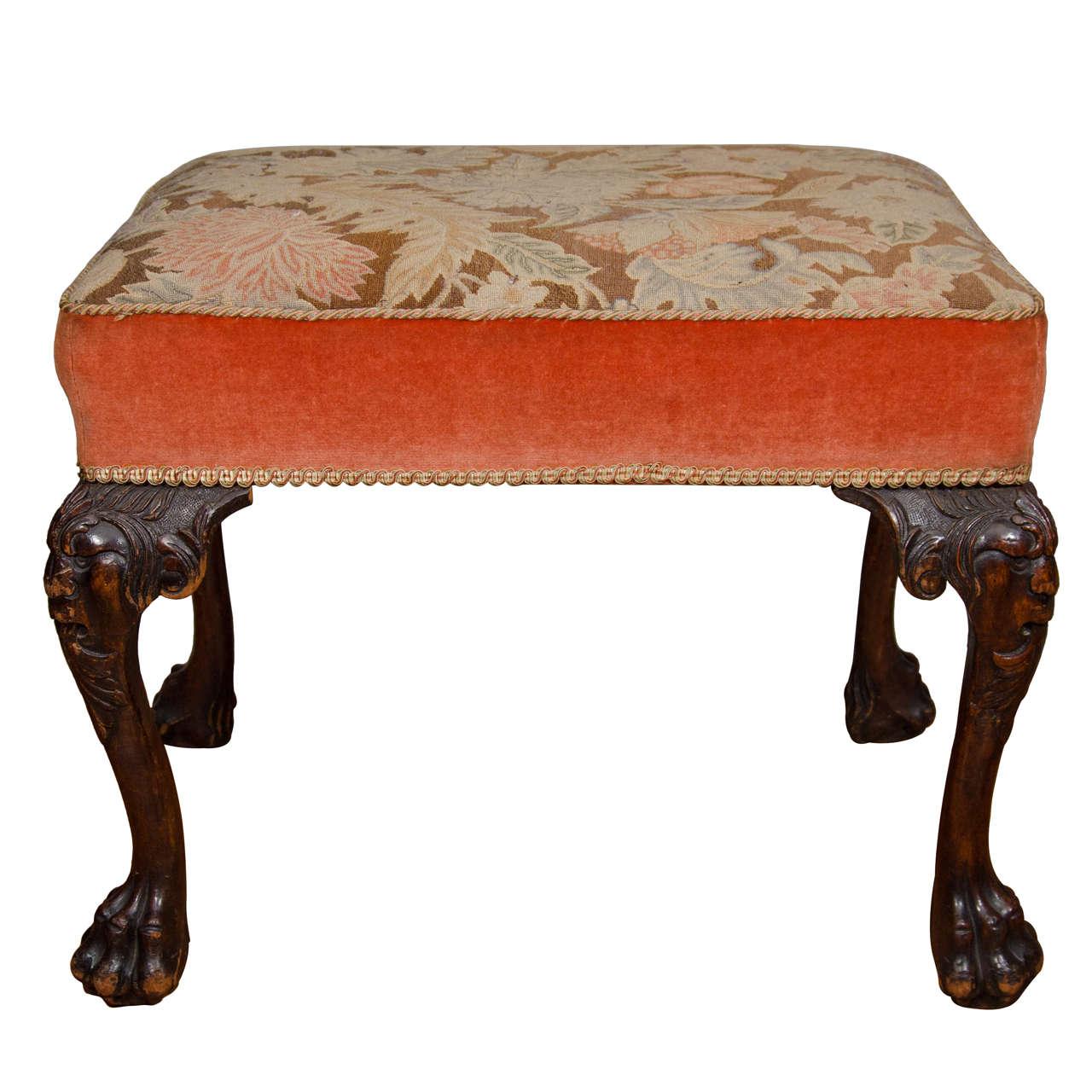 18th Century Upholstered Mahogany Stool