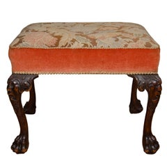 18th Century Upholstered Mahogany Stool