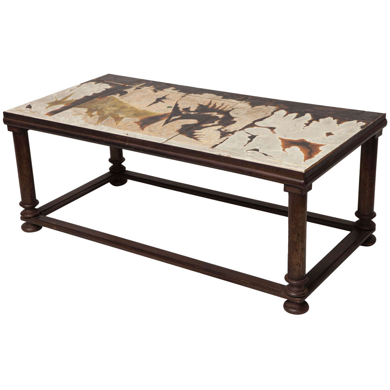 Midcentury Ceramic And Bronzed Iron Coffee Table At 1stdibs