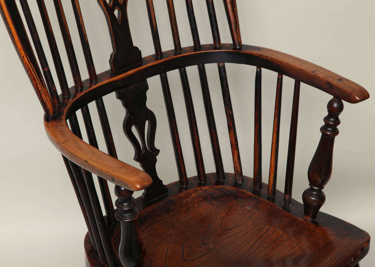 Country English Yew Wood Hoop Back Windsor Armchair For Sale