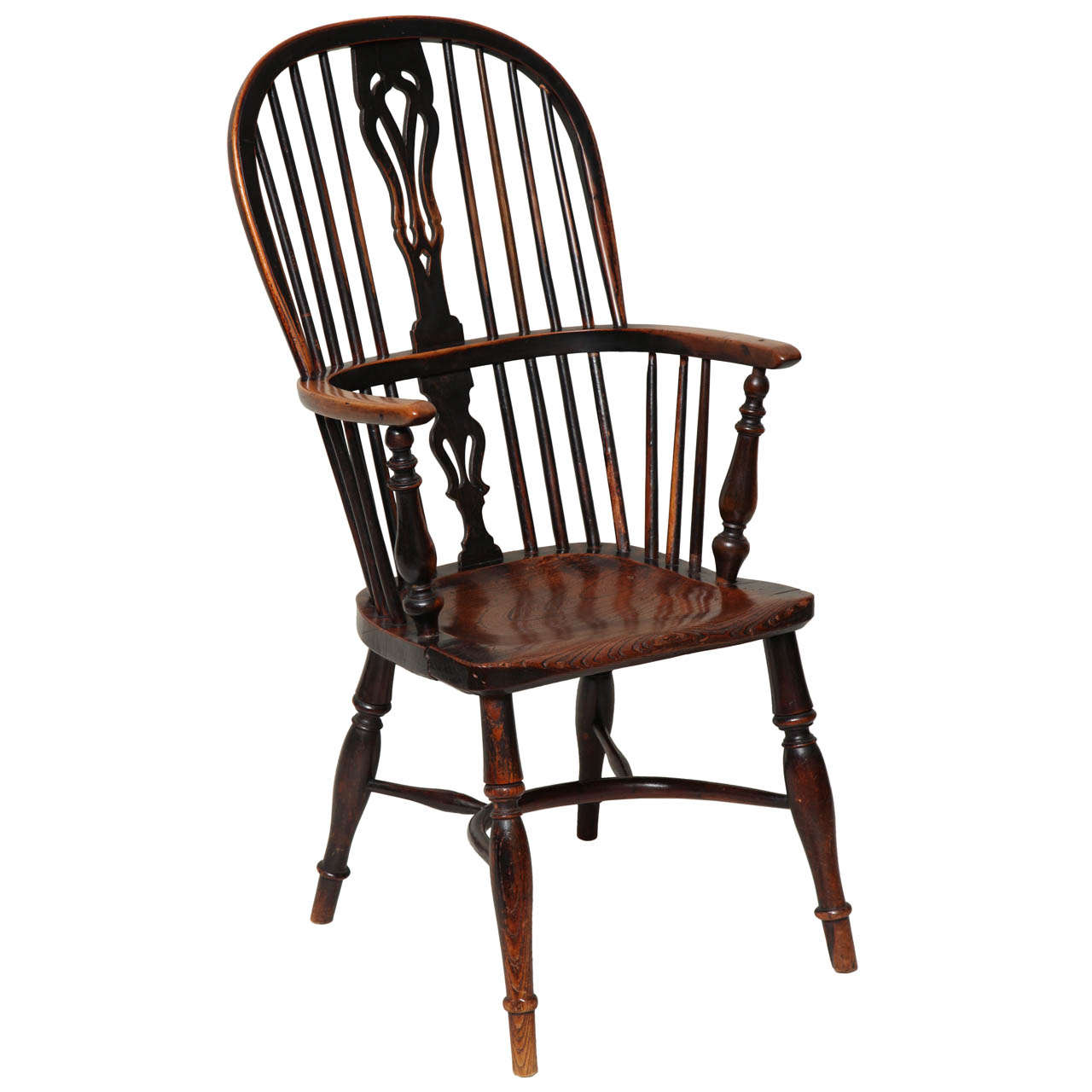 English Yew Wood Hoop Back Windsor Armchair