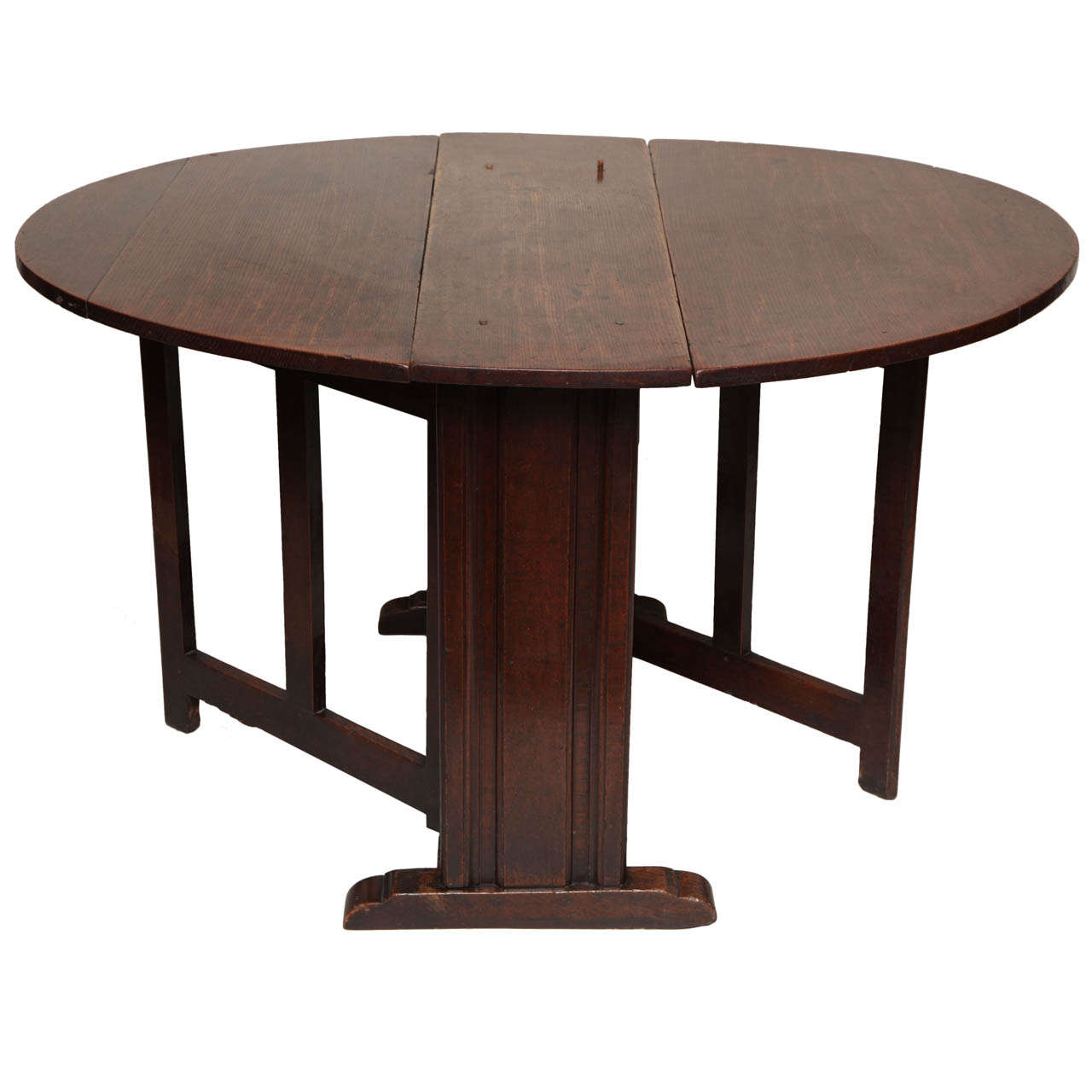 17th C English Or Welsh Oval Gate Leg Table Of Rare Form