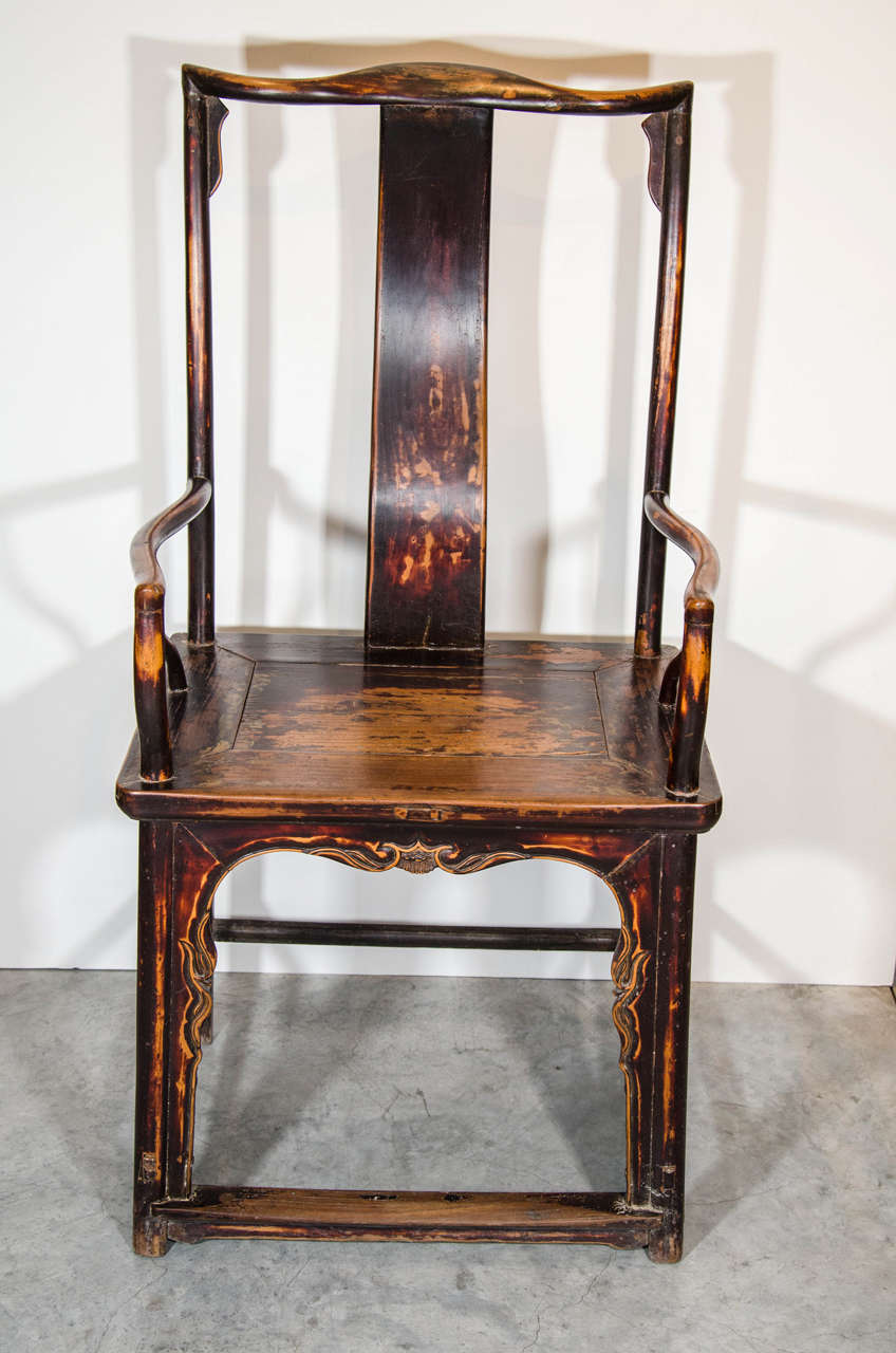 A classically proportioned single Chinese official's armchair with gracefully curved back. From Shanxi province, circa 1920.