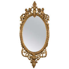Early 19th Century Palatial Rococo Giltwood Carved Mirror