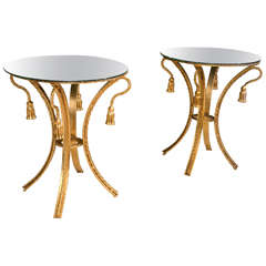 Pair of Tassel Form Mirror Top Brass Rope Edge End Tables / Side Tables