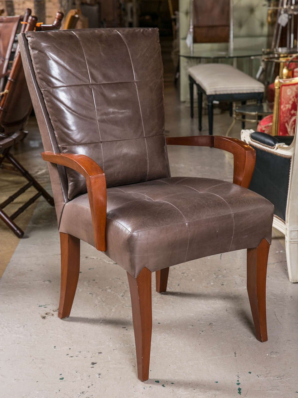 Set Of 12 Dakota Jackson Leather Mahogany Dining Chairs At 1stdibs