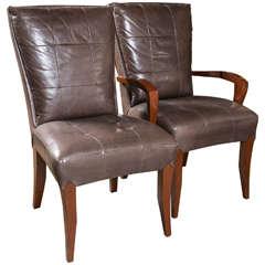 Set of 12 Dakota Jackson Leather Mahogany Dining Chairs