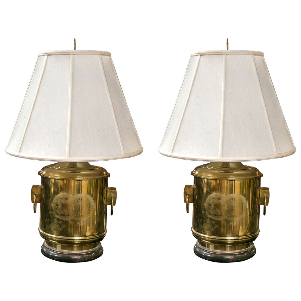 pair of brass chinese fashion ginger jar table lamps at 1stdibs. Black Bedroom Furniture Sets. Home Design Ideas