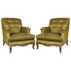 Pair of Louis XV Style Bergère Lounge Chairs by Maison Jansen