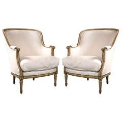 Pair of Maison Jansen Bergère Chairs in Louis XVI Style