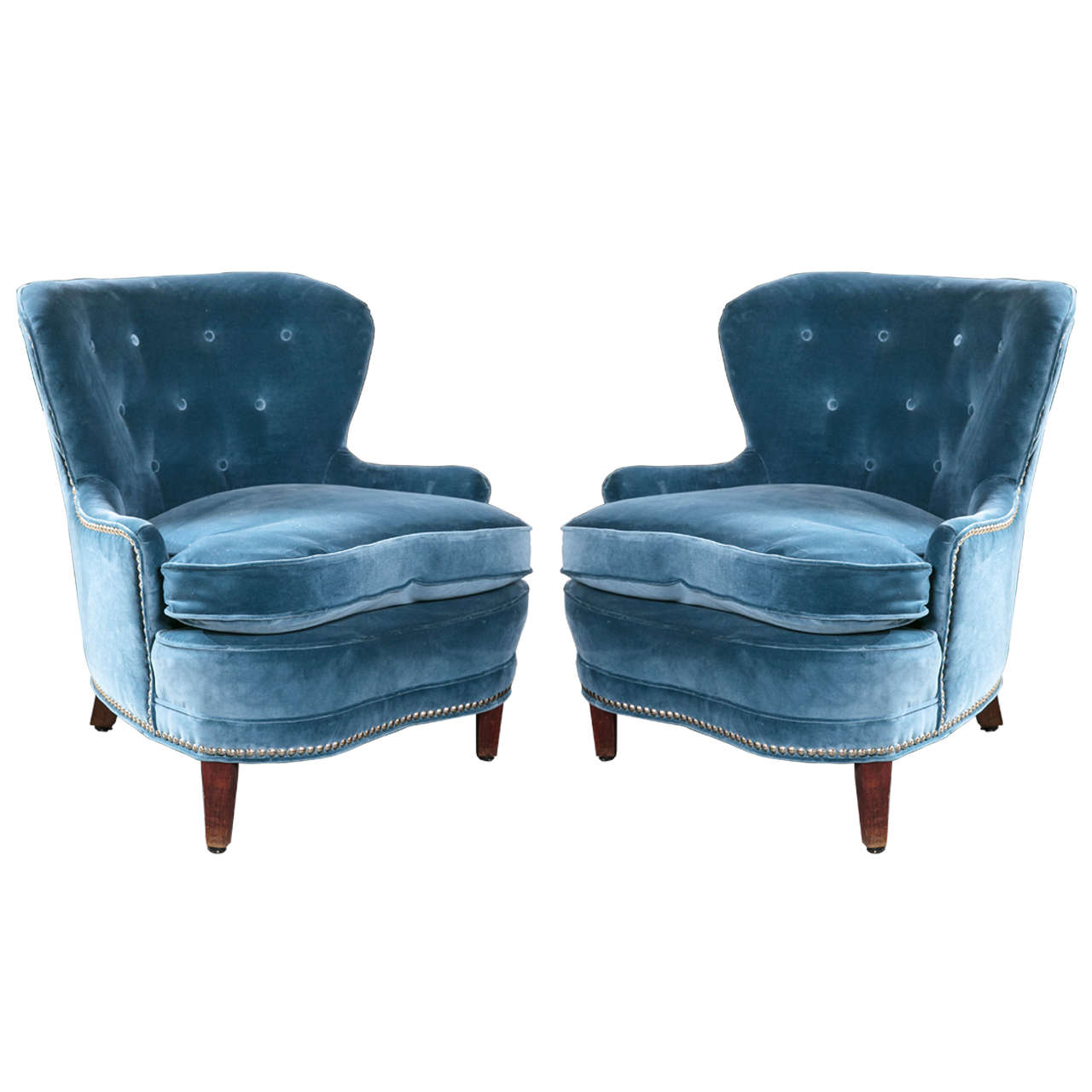 Blue Velour Art Deco Style Mid Century Modern Chairs For Sale