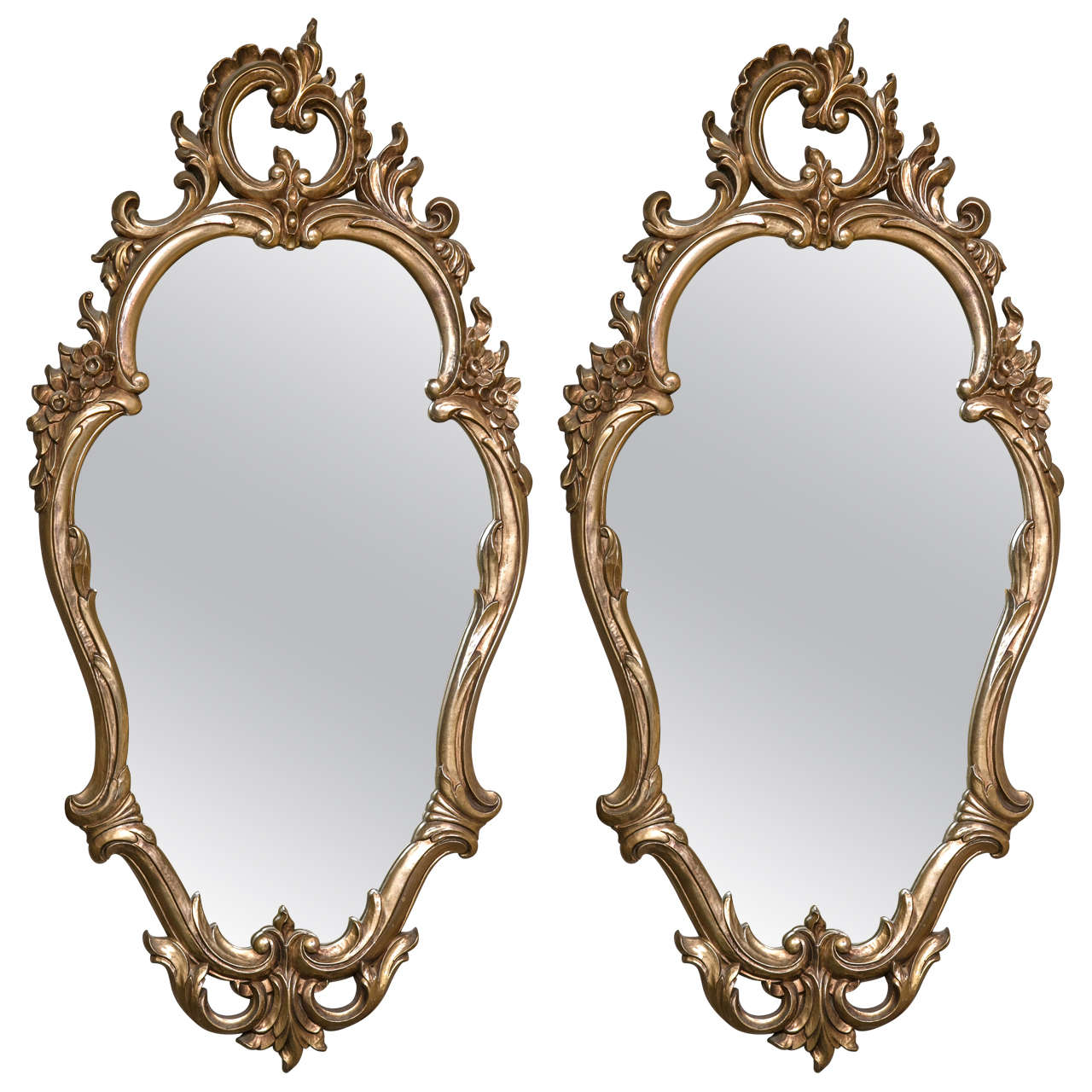 pair of decorative rococo style mirrors at 1stdibs