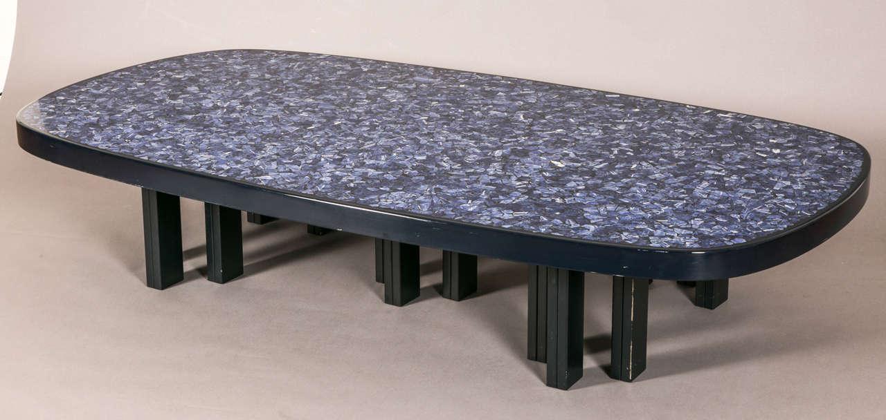 Large oval lapis lazuli coffee table by f dresse et fils for Table franco et fils