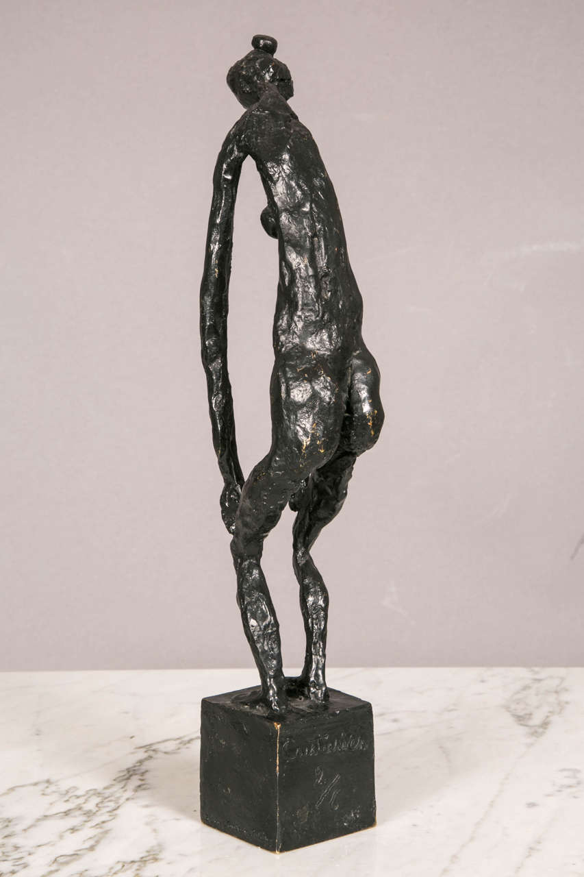 Bronze Standing Woman by Robert Couturier In Good Condition For Sale In Paris, FR