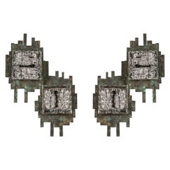Pair of Metal and Glass Wall Sconces, in style of Poliarte, Italy, 1970s