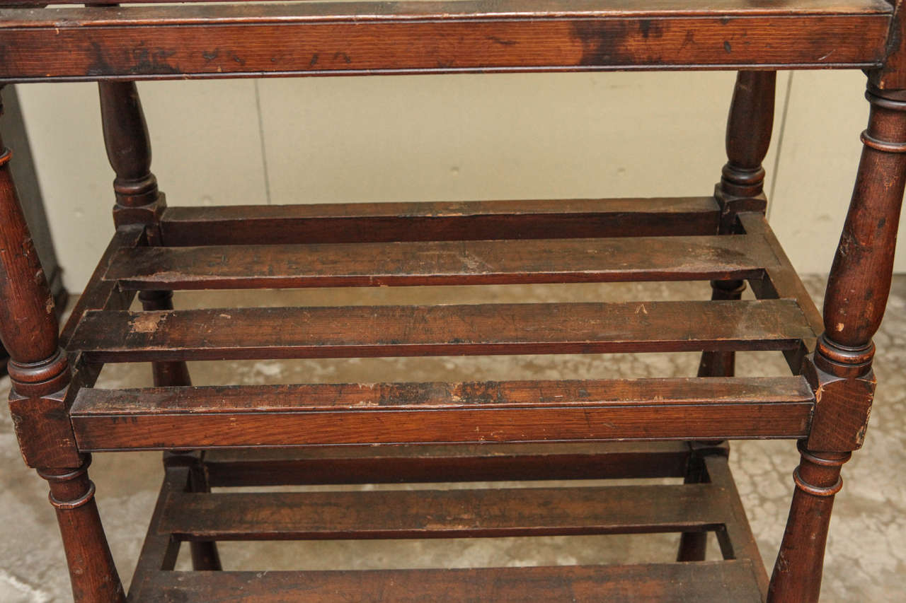 English Tall Country Oak Étagère with Six Slated Shelves For Sale