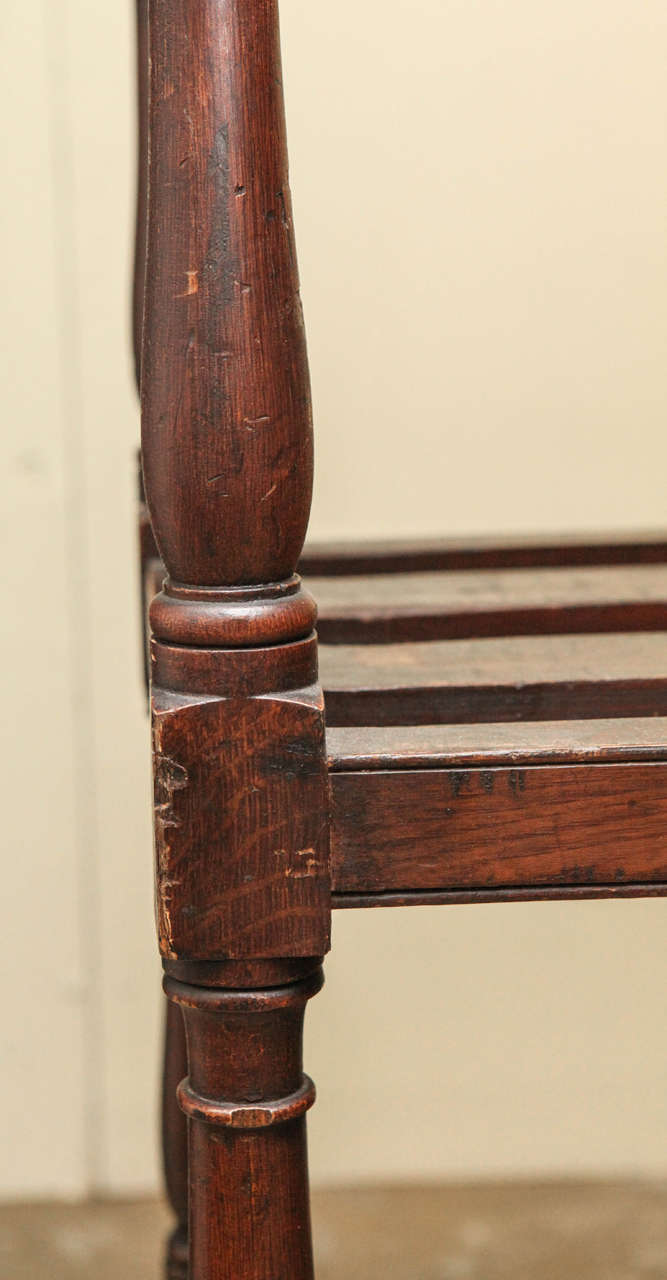 Late 19th Century Tall Country Oak Étagère with Six Slated Shelves For Sale
