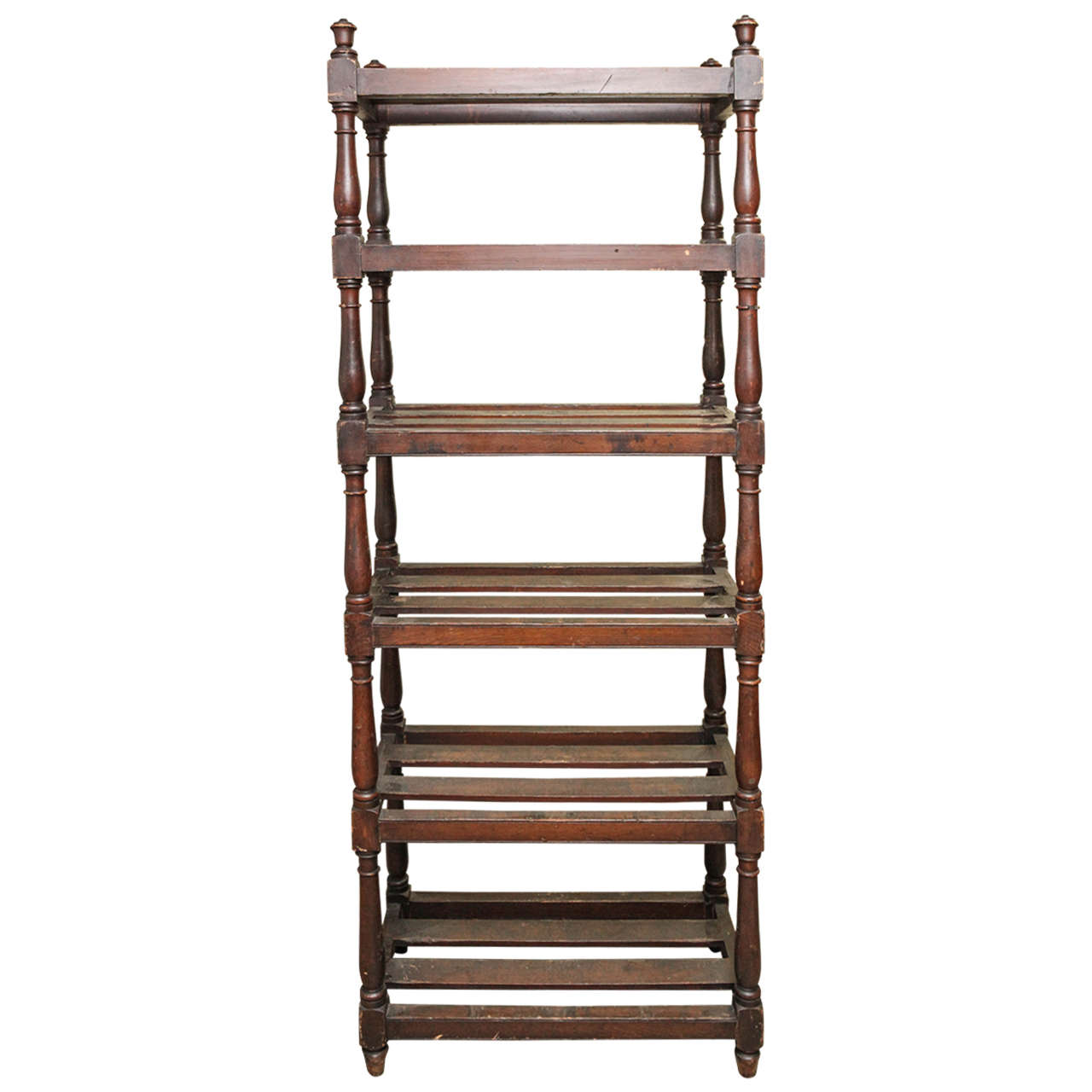 Tall Country Oak Étagère with Six Slated Shelves For Sale