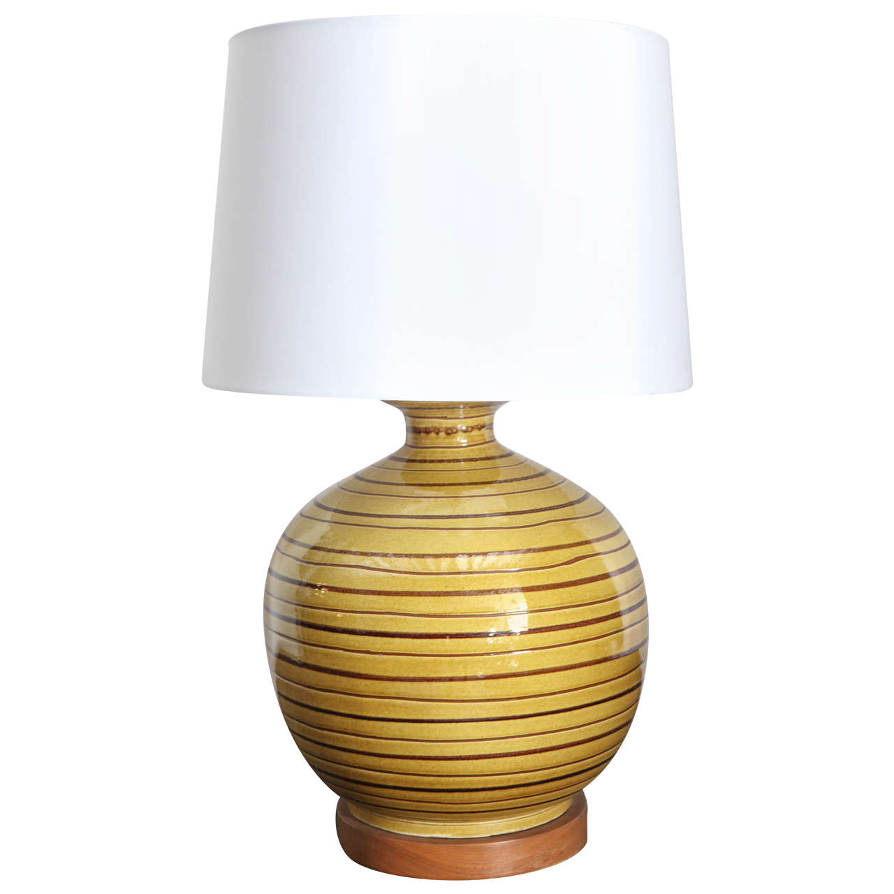 Mid Century Ceramic Yellow And Brown Table Lamp At 1stdibs