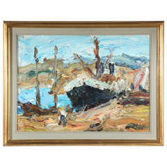 Abstract Deep Oil Painting of Ship Scene in Gold Frame