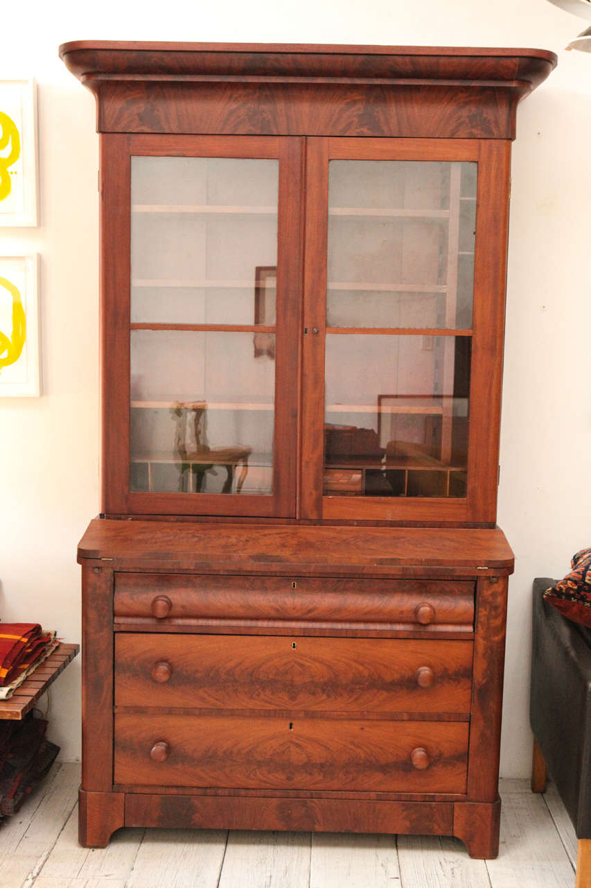 Two Piece Colonial Secretary with Display Shelves and Three Drawers 2