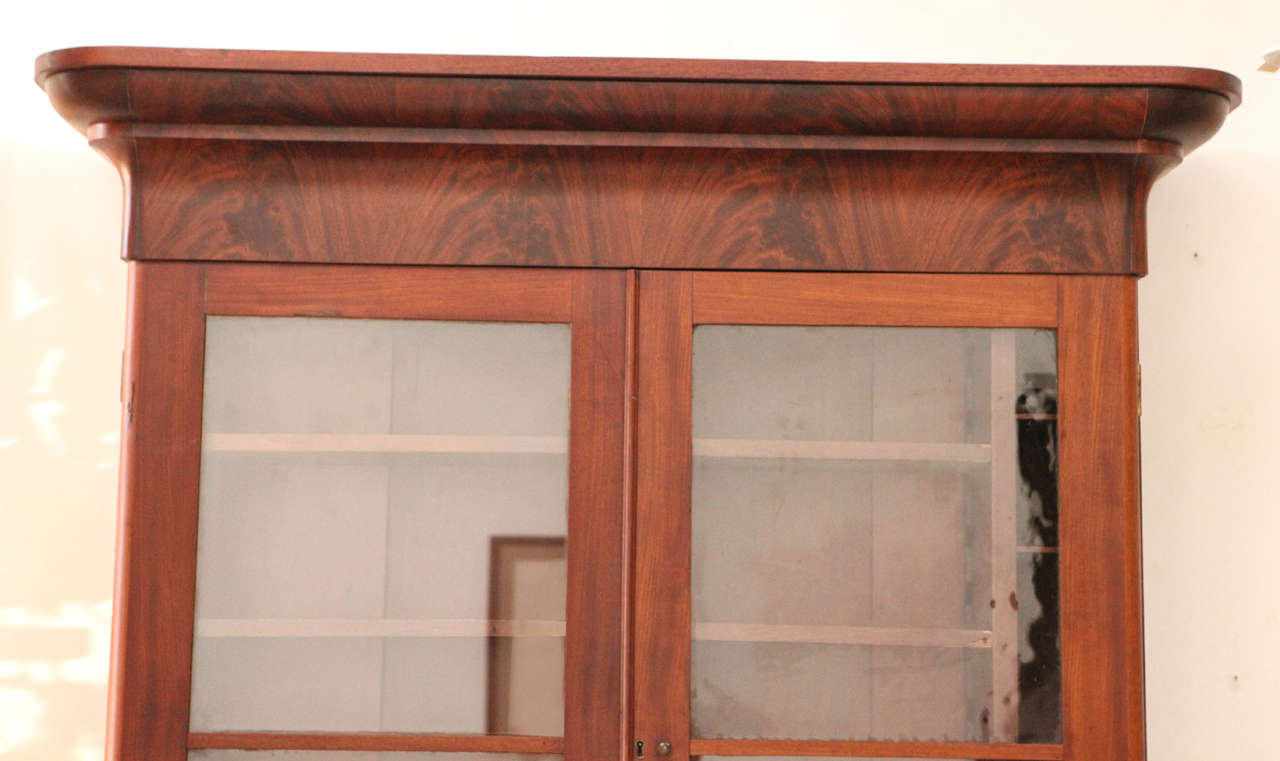 Two Piece Colonial Secretary with Display Shelves and Three Drawers 4