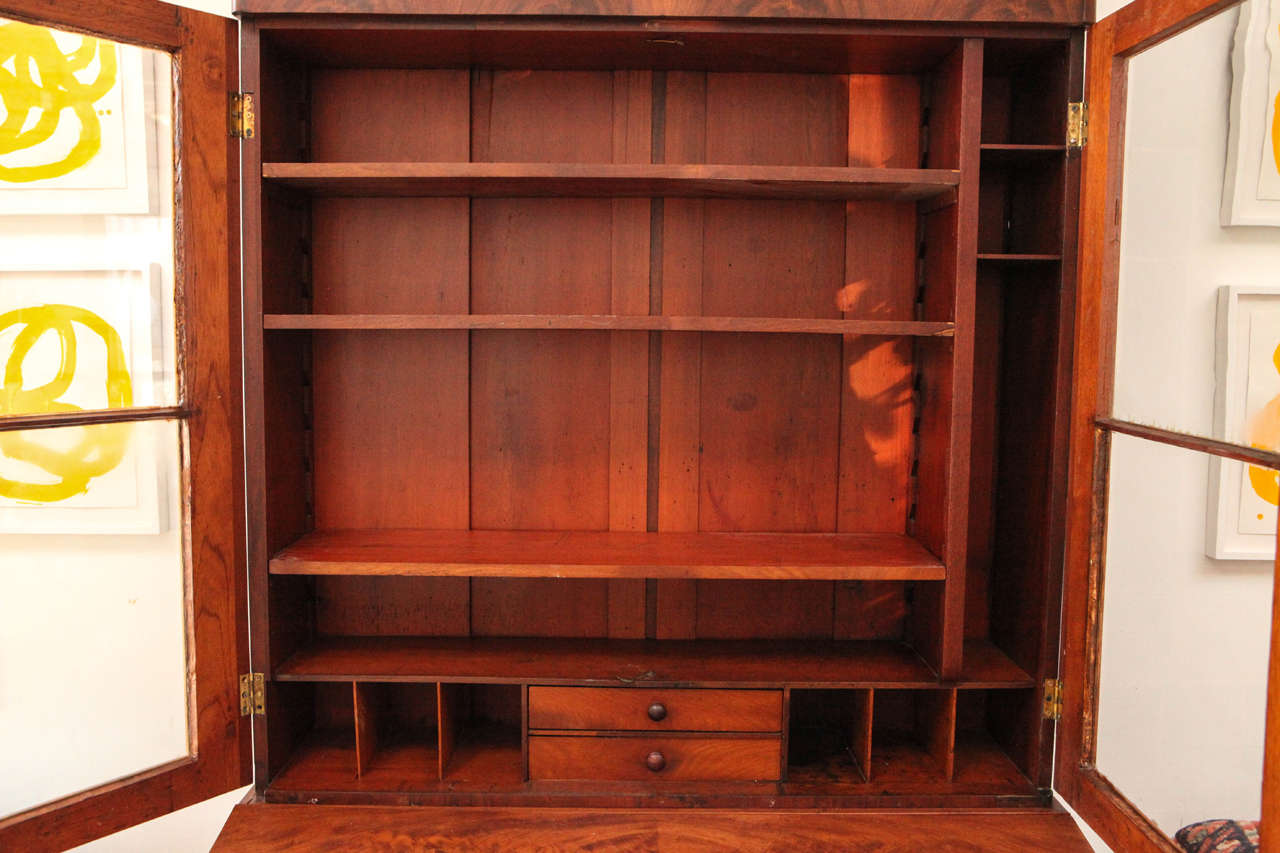 Two Piece Colonial Secretary with Display Shelves and Three Drawers 5