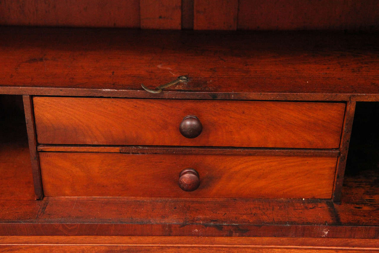 Two Piece Colonial Secretary with Display Shelves and Three Drawers 6