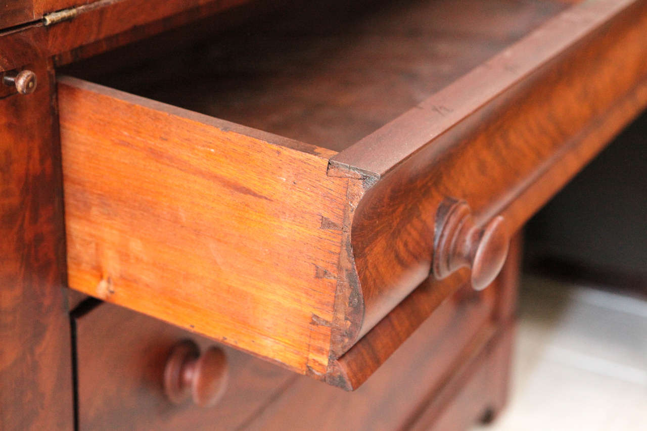 Two Piece Colonial Secretary with Display Shelves and Three Drawers 8