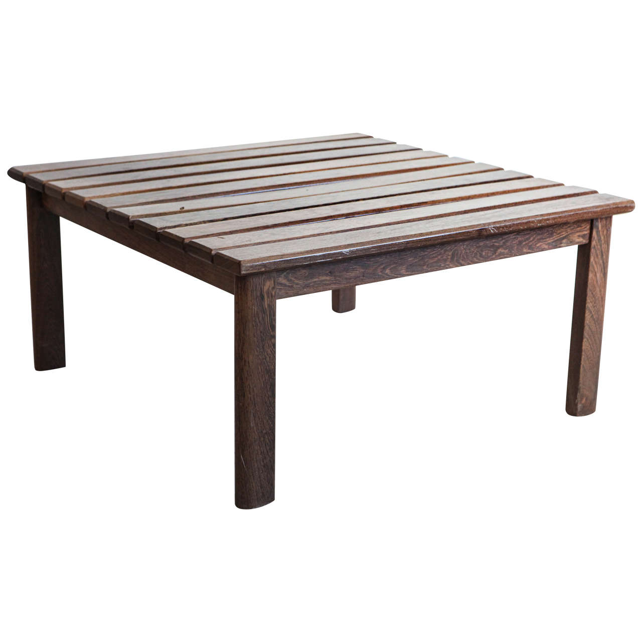 Slatted Teak Square Coffee Table At 1stdibs