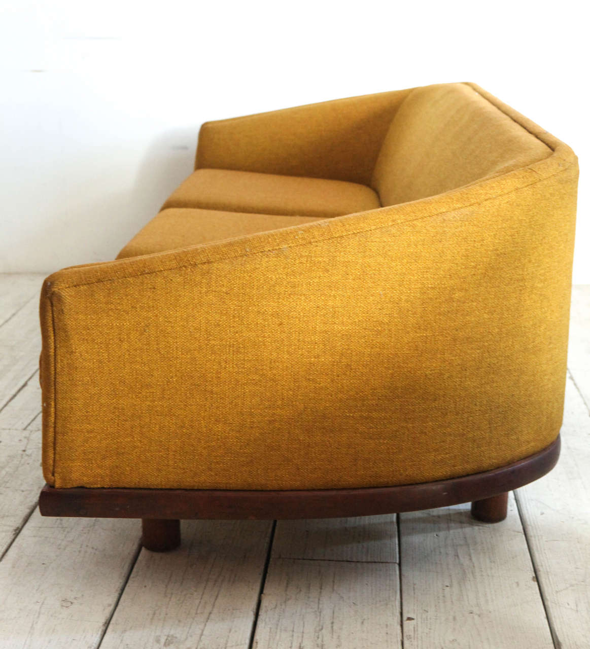 Curved Yellow Leather Sofa: Mid-Century Curved Back Sofa In Mustard Yellow Fabric At