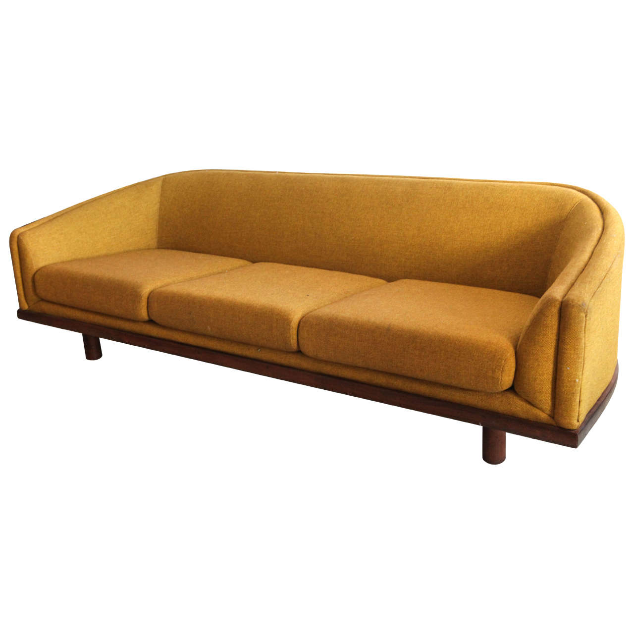 Mid Century Curved Back Sofa In Mustard Yellow Fabric At 1stdibs