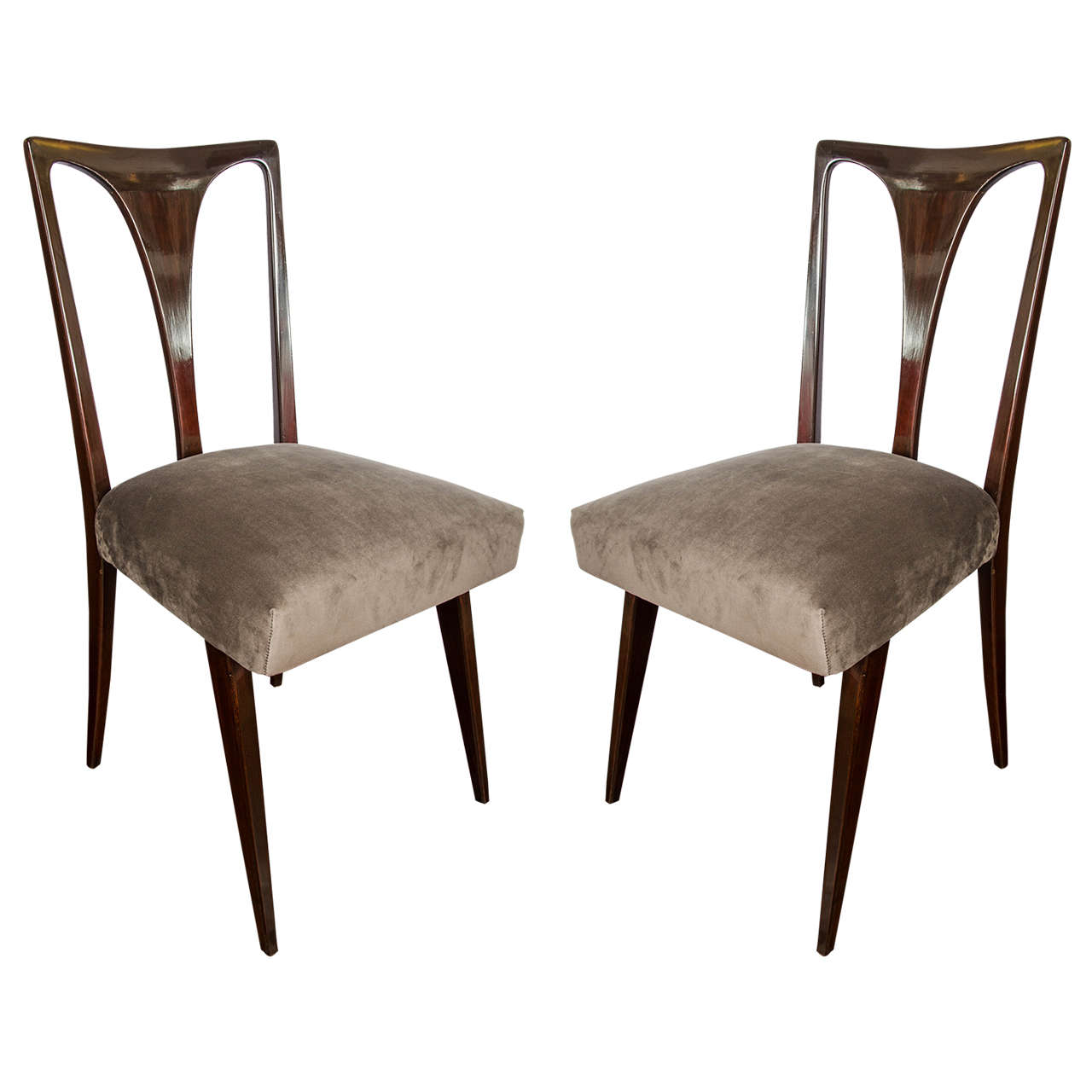 1950 Set Of Six Italian Dining Chairs For Sale