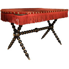 Ebonized Oblong Bobbin Table