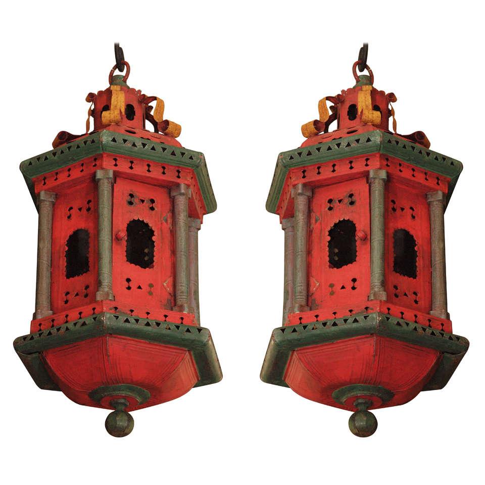 Pair Of Italian Polychrome Cupola Form Lanterns At 1stdibs