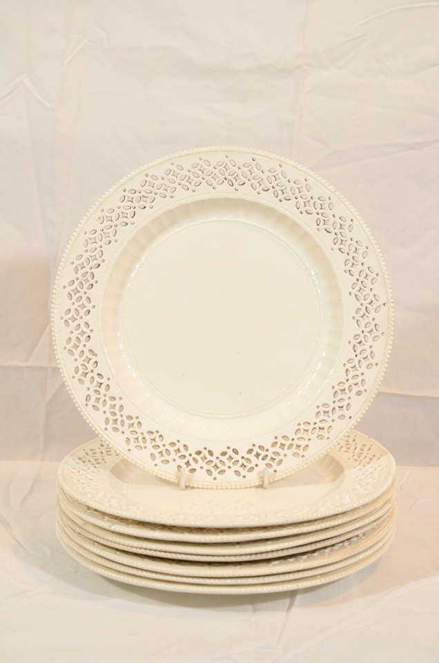 A Set of 18th Century Pierced Antique Creamware Dishes 3