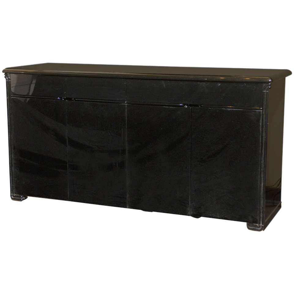 Vintage Black Lacquered Credenza At 1stdibs