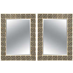 A Pair of 21st c. Mirrors In Bone And Horn